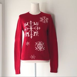 Talbot's Red Winter Snowflake Sweater - XS